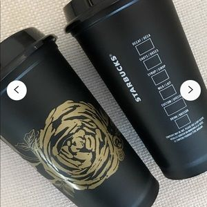 Starbucks Fall limited Ed black with Gold Rose cup